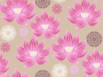 Lotus pattern2. Beautiful seamless pattern with flower lotus. Japanese ? indian pattern. Perfect for site backgrounds, wrapping paper and fabric design. Vector stock illustration