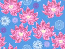 Lotus pattern3. Beautiful seamless pattern with flower lotus. Japanese ? indian pattern. Perfect for site backgrounds, wrapping paper and fabric design. Vector stock illustration