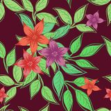 Beautiful seamless pattern with flowers and green leaves on a burgundy background. vector illustration