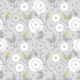 Beautiful seamless pattern with flowers and leaves Stock Photos