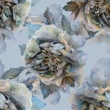 Beautiful seamless pattern with flowers of silk roses. stock illustration