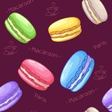 Beautiful seamless pattern with French dessert. Macaroons. Vector Royalty Free Stock Photos