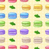 Beautiful seamless pattern with French dessert. Macaroons. Vector Stock Image