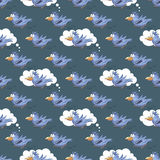 Beautiful seamless pattern with funny parrots.- vector illustrat Royalty Free Stock Photos