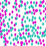 This is a beautiful, seamless pattern from geometric rhombuses. The abstract pattern is made of lilac and green colors on a white. Background. This is a royalty free illustration