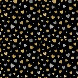 Beautiful seamless pattern with gold and silver glittering hearts on black. Background. design for holiday greeting card and invitation of the wedding, Happy Royalty Free Stock Photos