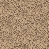 Beautiful seamless pattern with hand-drawn flowers in vintage colors. Royalty Free Stock Images
