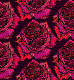 Beautiful seamless pattern with hand drawn ornate pink rose flow Stock Images