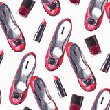 Beautiful seamless pattern hand drawn in red and black palette. Fashion design with red shoes, lipstick and nail polish stick. Ras Royalty Free Stock Photos