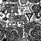 Beautiful seamless pattern Indian Elephant with ornamental. Hand drawn ethnic tribal decorated Elephant. White contour on Black ba. Ckground. for site, blog Stock Photography