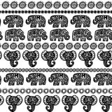Beautiful seamless pattern Indian Elephant with ornamental strips. Hand drawn ethnic tribal decorated Elephant. Black contour isol. Ated on white endless Stock Images