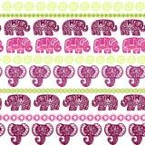 Beautiful seamless pattern Indian Elephant with ornamental strips. Hand drawn ethnic tribal decorated Elephant. Dark pink burgundy. Light green purple contour Stock Photo