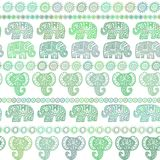 Beautiful seamless pattern Indian Elephant with ornamental strips. Hand drawn ethnic tribal decorated Elephant. olive light green. Contour isolated on white Royalty Free Stock Photos