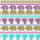 Beautiful seamless pattern Indian Elephant with ornamental strips. Hand drawn ethnic tribal decorated Elephant. teal purple olive. Green pink contour isolated Stock Image