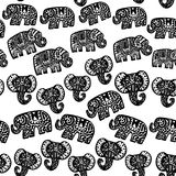 Beautiful seamless pattern Indian Elephant with ornaments. Hand drawn ethnic tribal decorated Elephant. black contour isolated on. White endless background Royalty Free Stock Images