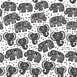 Beautiful seamless pattern Indian Elephant with polka dot ornaments. Hand drawn ethnic tribal decorated Elephant. black contour is. Olated on white endless Stock Photos