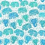 Beautiful seamless pattern Indian Elephant with polka dot ornaments. Hand drawn ethnic tribal decorated Elephant. Turquoise green. Blue teal contour isolated on Stock Photo