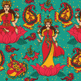Beautiful seamless pattern with indian goddess Lakshmi and paisley ornament Stock Photography