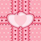 Beautiful seamless pattern with lace and two heart-shaped cards Royalty Free Stock Photos