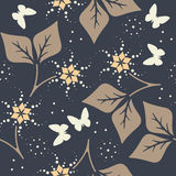 Beautiful seamless pattern with leaves,  flowers and butterflies Royalty Free Stock Photo