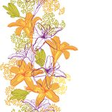 Beautiful seamless pattern with lilies Royalty Free Stock Photos