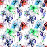 Beautiful seamless pattern with Lily and Poppy flowers. Watercolor illustration Stock Photography