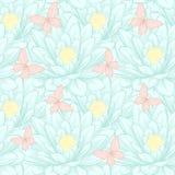 Beautiful seamless pattern with lotus flowers. Stock Photos