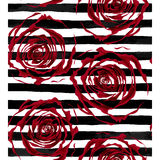 Beautiful seamless pattern outline of red roses on striped black and white background. Royalty Free Stock Image