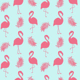 Beautiful seamless pattern with pink flamingo isolated on white Stock Photo
