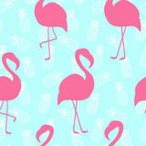 Beautiful seamless pattern with pink flamingo on mint pineapple background royalty free illustration
