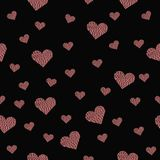 Beautiful seamless pattern with pink hearts on black background royalty free stock images