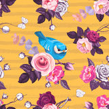 Beautiful seamless pattern with pink rose flowers and small blue bird against orange background with horizontal grungy stripes. Ve Royalty Free Stock Images