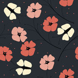 Beautiful seamless pattern with poppy flowers and butterflies on vector illustration