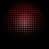 Beautiful seamless pattern with red embossed hearts on black background. Stock Photo