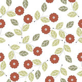 Beautiful seamless pattern with red flowers and green leaves iso Royalty Free Stock Photo