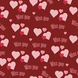Beautiful seamless pattern of red with hearts and inscription in words I miss you. Background on the feast of St. Valentine on February 14 royalty free illustration