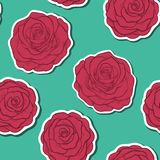 Beautiful seamless pattern in red roses with contours. Hand-drawn contour lines and strokes. Royalty Free Stock Photos