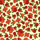 Beautiful seamless pattern with red roses on light background.  Stock Photo