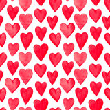 Beautiful Seamless pattern with red watercolor hearts. Stock Image