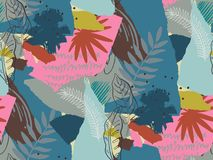 Beautiful seamless pattern with ropical jungle palm leaves and abstract texture royalty free stock images