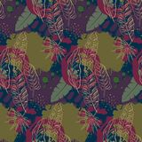 Beautiful seamless pattern with ropical jungle palm leaves and abstract texture royalty free stock image