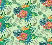 Beautiful seamless pattern with ropical jungle palm leaves and flowers. stock image