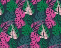 Beautiful seamless pattern with ropical jungle palm leaves. stock images