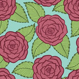 Beautiful seamless pattern in roses and leaves lace. Stock Photo