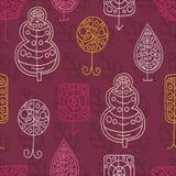 Beautiful seamless pattern. Set of stylized trees. Crohn tree. Wood. Garden. Stock Images