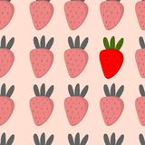 Beautiful seamless pattern with strawberries in . Cute bac. Kground in monotone colors with color accent.Seamless pattern can be used for wallpapers, pattern Stock Photography
