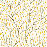Beautiful seamless pattern with tree branches and autumn yellow leaves. Stock Photo