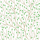 Beautiful seamless pattern with tree branches and green leaves. design background greeting cards and invitations to the Royalty Free Stock Photos