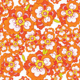 Seamless vector pattern with orange flowers. Beautiful seamless pattern wallpaper background with orange decorative flowers. Vector royalty free illustration