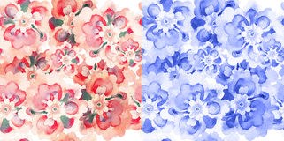 Seamless patterns with watercolor flowers. Beautiful seamless pattern wallpaper background in two colors with watercolor decorative flowers royalty free illustration
